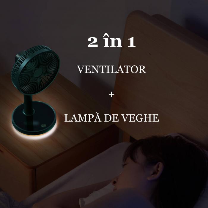 Ventilator portabil pentru birou, 5 W, acumulator 2000 mAh, brat extensibil, reincarcabil USB, albastru [7]