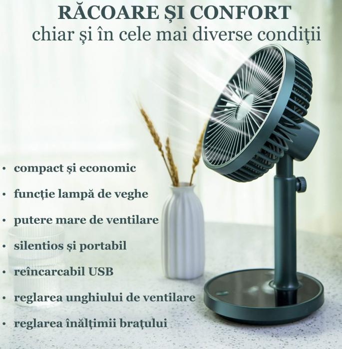 Ventilator portabil pentru birou, 5 W, acumulator 2000 mAh, brat extensibil, reincarcabil USB, albastru [3]