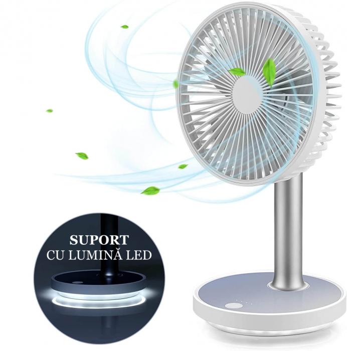 Ventilator portabil pentru birou, 5 W, acumulator 2000 mAh, brat extensibil, reincarcabil USB, alb [9]