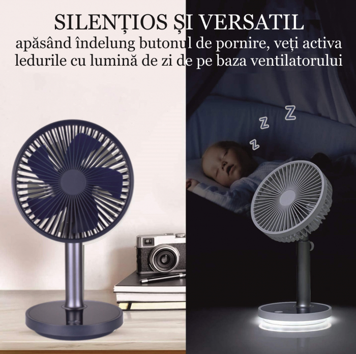Ventilator portabil pentru birou, 5 W, acumulator 2000 mAh, brat extensibil, reincarcabil USB, alb [7]