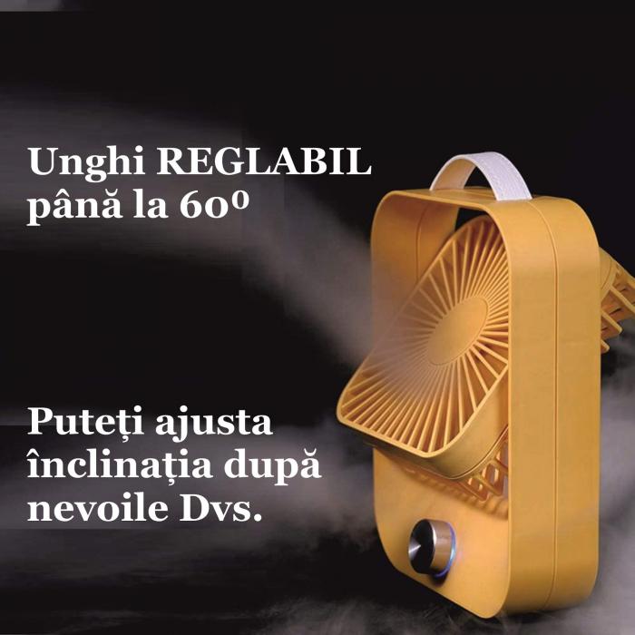Ventilator portabil pentru birou, 2.6 W, acumulator 2400 mAh, incarcare 3 ore, autonomie pana la 7 ore, reincarcabil USB, galben [9]
