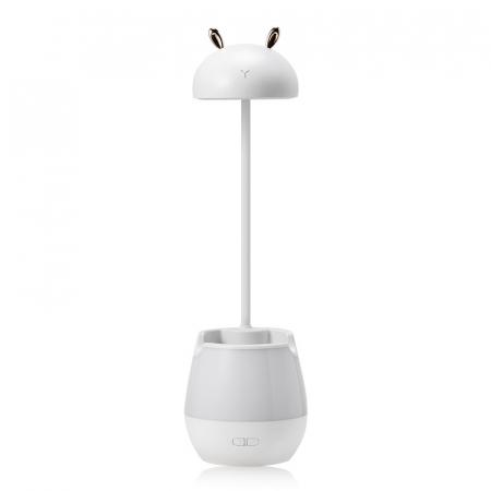 Lampa de birou cu suport pixuri reglabila Ideas4Comfort, lampa de veghe portabila, USB reincarcabila, BPA-free, Iepuras, alb [0]