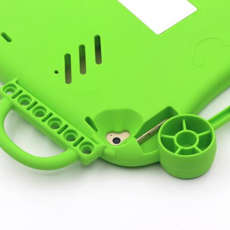 Husa protectie tableta, pentru copii, silicon, iPad Air, iPad Air 2, iPad Pro 9.7, iPad New 9.7, protectie silicon antisoc rezistenta la lovituri, acces la toate porturile, Broasca, verde [8]