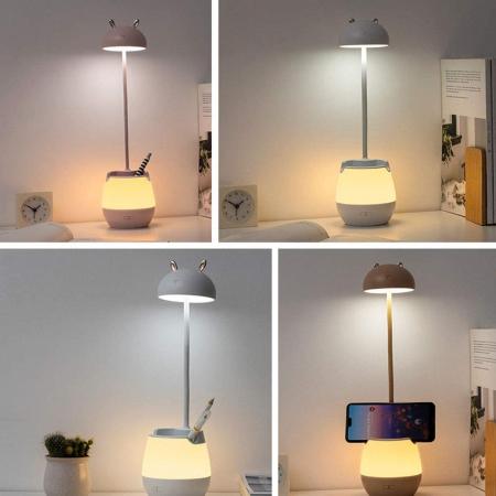 Lampa de birou cu suport pixuri reglabila Ideas4Comfort, lampa de veghe portabila, USB reincarcabila, BPA-free, Iepuras, alb [7]