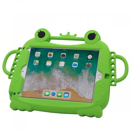 Husa protectie tableta, pentru copii, silicon, iPad Air, iPad Air 2, iPad Pro 9.7, iPad New 9.7, protectie silicon antisoc rezistenta la lovituri, acces la toate porturile, Broasca, verde [1]