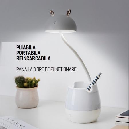 Lampa de birou cu suport pixuri reglabila Ideas4Comfort, lampa de veghe portabila, USB reincarcabila, BPA-free, Iepuras, alb [3]