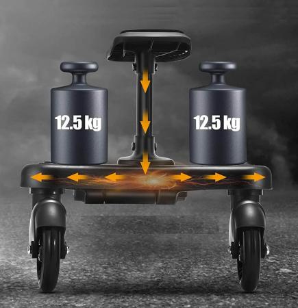 Adaptor de carucior pentru al doilea copil, remorca carucior, platforma buggy board cu scaun demontabil, 2 roti, capacitate 25 kg, universal, negru [3]