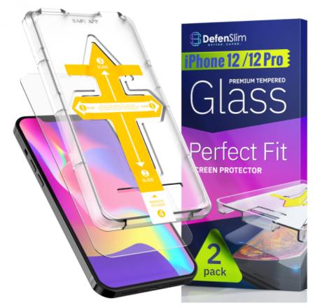 Folie sticla iPhone 12 / 12 Pro, set 2 buc, instalare rapida cu dispozitiv de potrivire automata in 30 sec, DefenSlim [0]