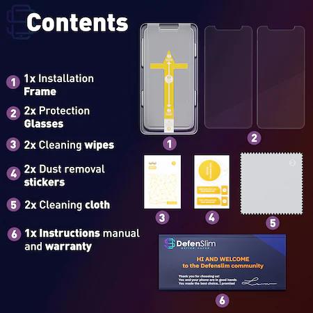 Folie sticla iPhone 13 Mini, set 2 buc, DefenSlim, instalare usoara cu dispozitiv de potrivire automata, Easy Install Kit patentat [7]