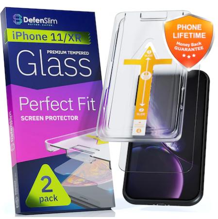 Folie sticla iPhone 11 / iPhone XR, set 2 buc, DefenSlim, instalare rapida cu dispozitiv de potrivire automata in 30 sec [1]