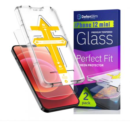 Folie sticla iPhone 12 mini, set 2 buc, DefenSlim, instalare usoara cu dispozitiv de potrivire automata, Easy Install Kit patentat [5]