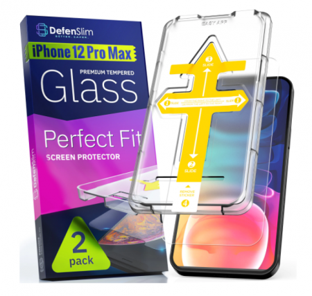 Folie sticla iPhone 12 Pro Max, set 2 buc, DefenSlim, instalare usoara cu dispozitiv de potrivire automata, Easy Install Kit patentat [5]
