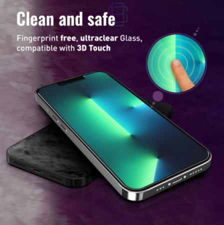 Folie sticla iPhone 13 Pro Max, set 2 buc, DefenSlim, instalare usoara cu dispozitiv de potrivire automata, Easy Install Kit patentat [5]