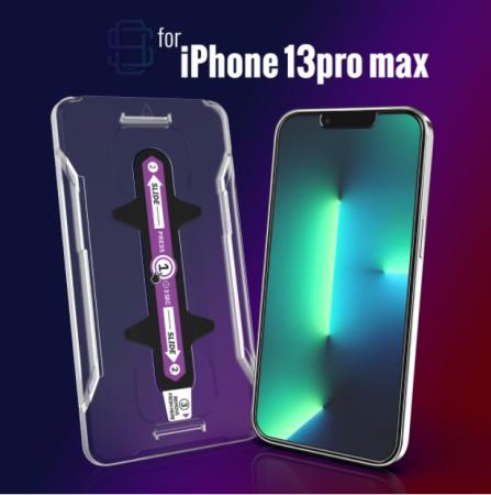 Folie sticla iPhone 13 Pro Max, set 2 buc, DefenSlim, instalare usoara cu dispozitiv de potrivire automata, Easy Install Kit patentat [2]