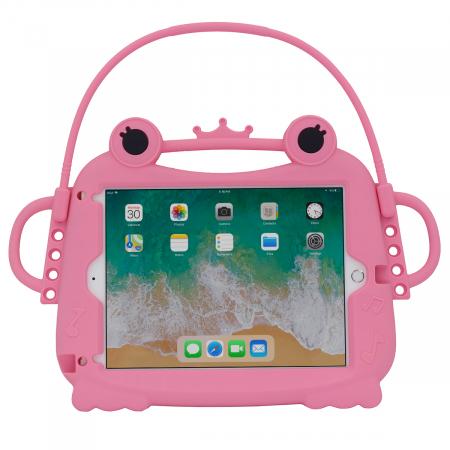 Husa protectie tableta, pentru copii, silicon, iPad Air, iPad Air 2, iPad Pro 9.7, iPad New 9.7, protectie silicon antisoc rezistenta la lovituri, acces la toate porturile, Broasca, roz [0]