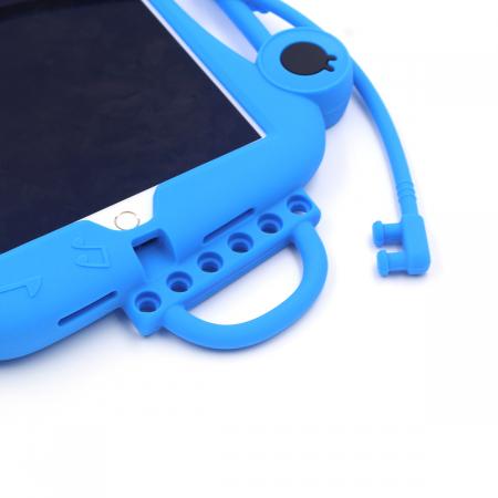Husa protectie tableta, pentru copii, silicon, iPad Air, iPad Air 2, iPad Pro 9.7, iPad New 9.7, protectie silicon antisoc rezistenta la lovituri, acces la toate porturile, Broasca, albastru [7]