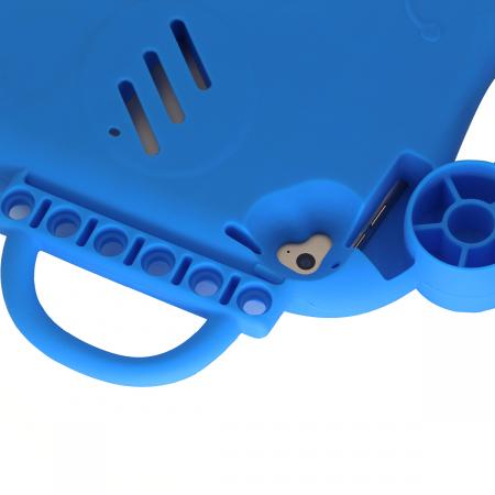 Husa protectie tableta, pentru copii, silicon, iPad Air, iPad Air 2, iPad Pro 9.7, iPad New 9.7, protectie silicon antisoc rezistenta la lovituri, acces la toate porturile, Broasca, albastru [8]