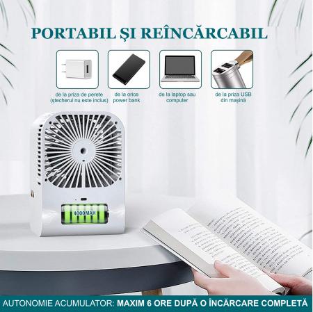 Ventilator cu umidificare portabil Ideas4Comfort, reincarcabil USB, 3 viteze, 2 moduri pulverizare, rezervor apa 330 ml, 6.5 W, autonomie 6 ore, alb [1]