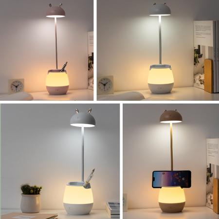 Lampa de birou cu suport pixuri reglabila, lampa de veghe poratbila, USB reincarcabila, BPA-free, Ursulet, maro [5]