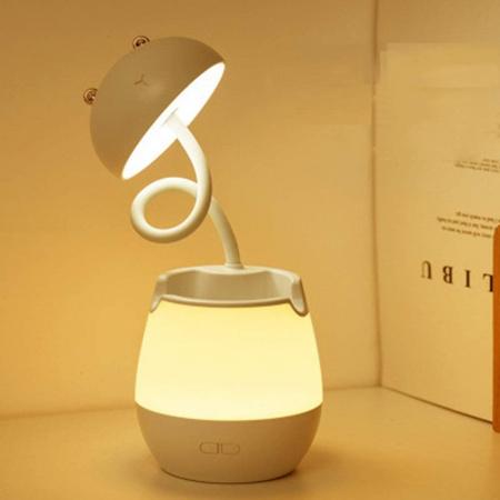 Lampa de birou cu suport pixuri reglabila, lampa de veghe poratbila, USB reincarcabila, BPA-free, Ursulet, maro [2]