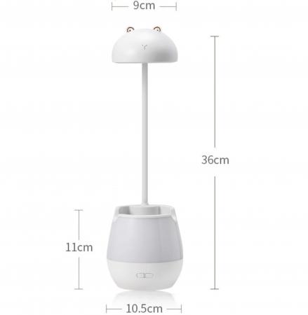 Lampa de birou cu suport pixuri reglabila, poratbila, pliabila, USB reincarcabila, BPA-free, Ursulet, alb [1]
