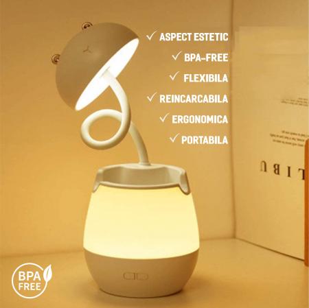 Lampa de birou cu suport pixuri reglabila, poratbila, pliabila, USB reincarcabila, BPA-free, Ursulet, alb [6]