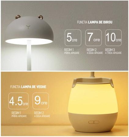 Lampa de birou cu suport pixuri reglabila, poratbila, pliabila, USB reincarcabila, BPA-free, Ursulet, alb [3]