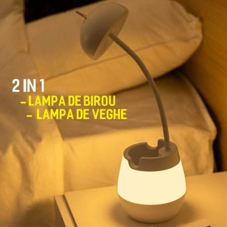 Lampa de birou cu suport pixuri reglabila, poratbila, pliabila, USB reincarcabila, BPA-free, Ursulet, alb [7]