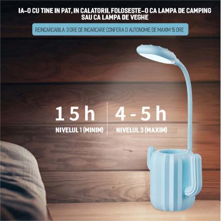 Lampa de birou pentru copii, cu suport de pixuri, LED, senzor tactil, 3 nivele de luminozitate, portabila, USB, Cactus, albastru [6]