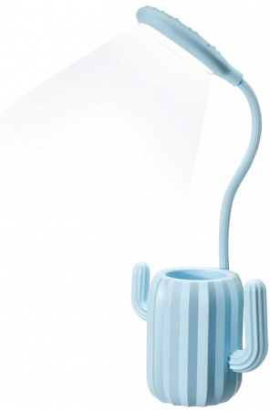 Lampa de birou pentru copii, cu suport de pixuri, LED, senzor tactil, 3 nivele de luminozitate, portabila, USB, Cactus, albastru [0]