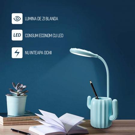 Lampa de birou pentru copii, cu suport de pixuri, LED, senzor tactil, 3 nivele de luminozitate, portabila, USB, Cactus, albastru [4]