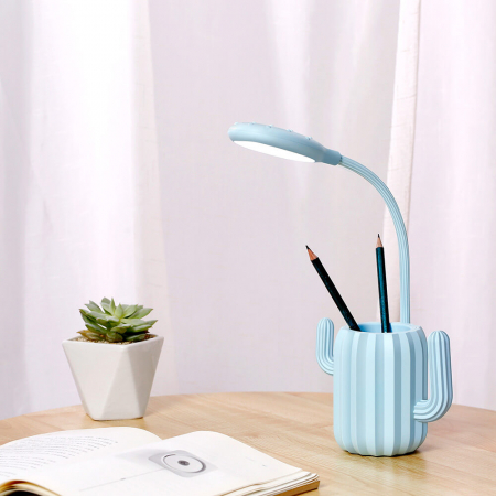 Lampa de birou pentru copii, cu suport de pixuri, LED, senzor tactil, 3 nivele de luminozitate, portabila, USB, Cactus, albastru [7]