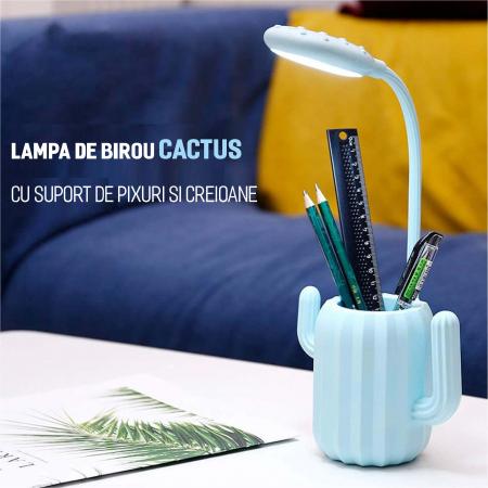 Lampa de birou pentru copii, cu suport de pixuri, LED, senzor tactil, 3 nivele de luminozitate, portabila, USB, Cactus, albastru [8]