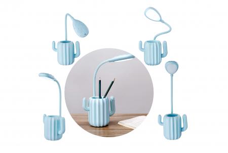 Lampa de birou pentru copii, cu suport de pixuri, LED, senzor tactil, 3 nivele de luminozitate, portabila, USB, Cactus, albastru [9]