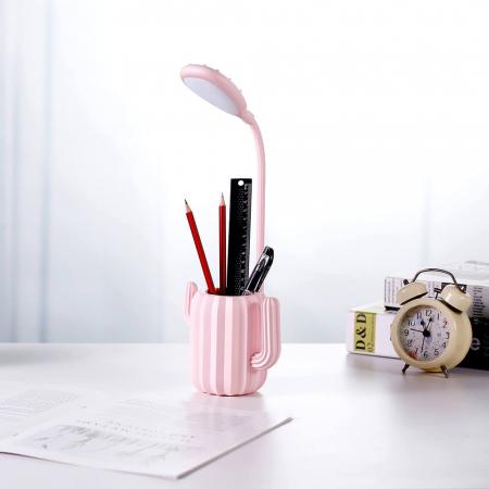 Lampa de birou pentru copii, cu suport de pixuri, LED, senzor tactil, 3 nivele de luminozitate, portabila, USB, Cactus, roz [7]