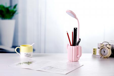 Lampa de birou pentru copii, cu suport de pixuri, LED, senzor tactil, 3 nivele de luminozitate, portabila, USB, Cactus, roz [2]
