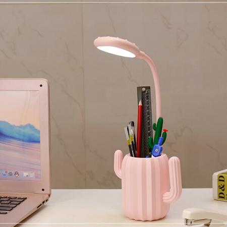 Lampa de birou pentru copii, cu suport de pixuri, LED, senzor tactil, 3 nivele de luminozitate, portabila, USB, Cactus, roz [4]