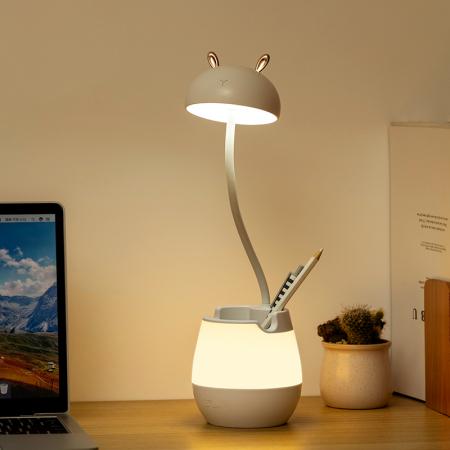 Lampa de birou cu suport pixuri reglabila Ideas4Comfort, lampa de veghe portabila, USB reincarcabila, BPA-free, Iepuras, alb [1]