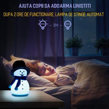 Lampa de veghe pentru copii, portabila, silicon BPA-free, 7 culori de LEDuri, reincarcabila USB, touch control, Om de Zapada cu palarie [2]
