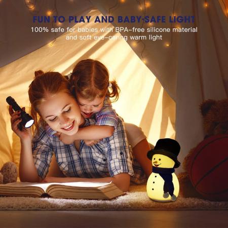 Lampa de veghe pentru copii, portabila, silicon BPA-free, 7 culori de LEDuri, reincarcabila USB, touch control, Om de Zapada cu palarie [4]