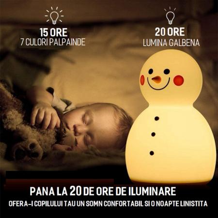Lampa de veghe pentru copii, portabila, silicon BPA-free, 7 culori de LEDuri, reincarcabila USB, touch control, Om de Zapada cu palarie [6]