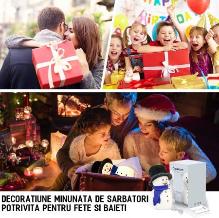 Lampa de veghe pentru copii, portabila, silicon BPA-free, 7 culori de LEDuri, reincarcabila USB, touch control, Om de Zapada cu palarie [7]