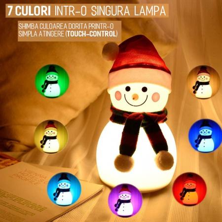 Lampa de veghe pentru copii, portabila, silicon BPA-free, 7 culori de LEDuri, reincarcabila USB, touch control, Om de Zapada cu fes [2]
