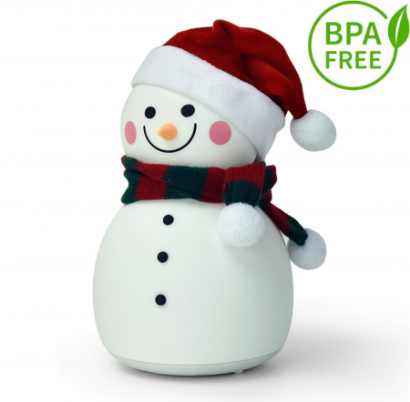 Lampa de veghe pentru copii, portabila, silicon BPA-free, 7 culori de LEDuri, reincarcabila USB, touch control, Om de Zapada cu fes [0]