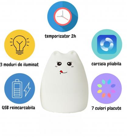 Lampa de veghe portabila cu 7 culori de LEDuri, silicon BPA-free, USB, touch-control, lampa de noapte Pisica Zambareata [5]