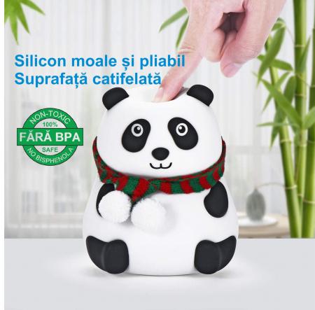 Lampa de veghe portabila cu 7 culori de LEDuri, silicon BPA-free, USB, touch-control, lampa de noapte Ursuletul Panda [4]