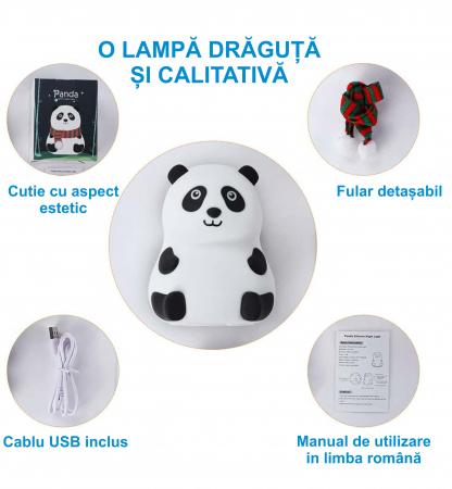 Lampa de veghe portabila cu 7 culori de LEDuri, silicon BPA-free, USB, touch-control, lampa de noapte Ursuletul Panda [2]