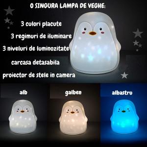Lampa de veghe portabila Pinguin, LED 3 culori, incarcare USB, reglabila. [2]