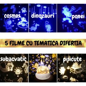 Lampa de veghe proiector pentru copii portabila, Ciuperca, alba [4]