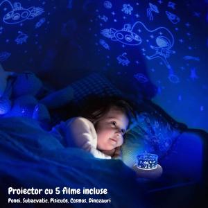 Lampa de veghe proiector pentru copii portabila, Ciuperca, alba [3]